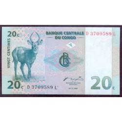 República Dem. del Congo 20 Céntimos PK 83 (1-11-1.997) S/C