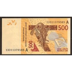 Benín 500 Francos PK Nuevo (2.012) S/C