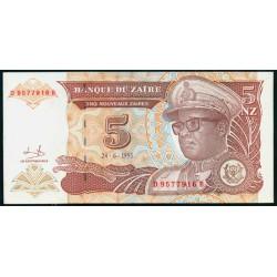 Zaire 5 Nuevos Zaires PK 53a (24-6-1.993) S/C
