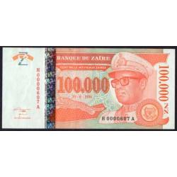 Zaire 100.000 Nuevos Zaires PK 76 (30-6-1.996) S/C