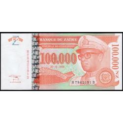 Zaire 100.000 Nuevos Zaires PK 77 (30-6-1.996) S/C