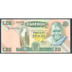 Zambia 20 Kwachas PK 27e (1.980-88) S/C