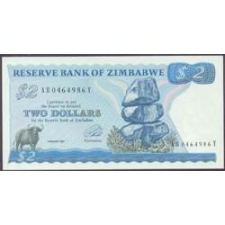 Zimbabwe 2 Dólares PK 1c (1.994) S/C