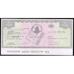 Zimbabwe 1.000 Dólares Travellers Cheque PK 15 (2.003) MBC
