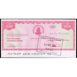 Zimbabwe 5.000 Dólares Travellers Cheque PK 16 (2.003) MBC