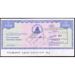 Zimbabwe 10.000 Dólares Travellers Cheque PK 17 (2.003) MBC