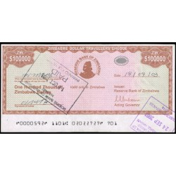 Zimbabwe 100.000 Dólares Travellers Cheque PK 20 (2.003) MBC