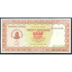 Zimbabwe 20.000 Dólares PK 23 (1-12-2.003) S/C