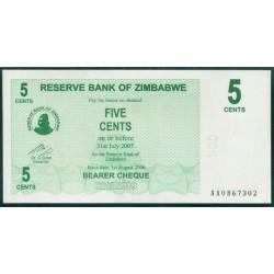Zimbabwe 5 Cents Cheque Pk 34 (1-8-2.006) S/C