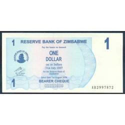 Zimbabwe 1 Dólar Cheque Pk 37 (1-8-2.006) S/C