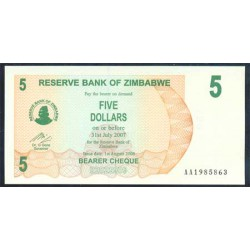 Zimbabwe 5 Dólares Cheque Pk 38 (1-8-2.006) S/C