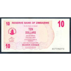 Zimbabwe 10 Dólares Cheque Pk 39 (1-8-2.006) S/C