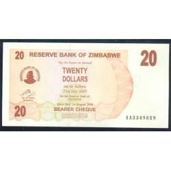Zimbabwe 20 Dólares Cheque Pk 40 (1-8-2.006) S/C