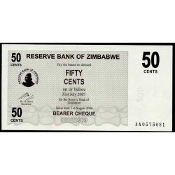 Zimbabwe 50 Dólares Cheque Pk 41 (1-8-2.006) S/C