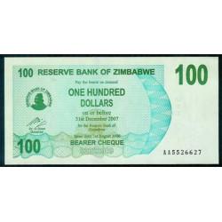 Zimbabwe 100 Dólares Cheque Pk 42 (1-8-2.006) S/C