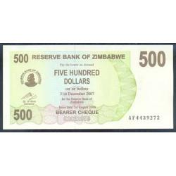 Zimbabwe 500 Dólares Cheque Pk 43 (1-8-2.006) S/C
