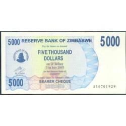 Zimbabwe 5.000 Dólares Cheque Pk 45 (1-2-2.007) S/C