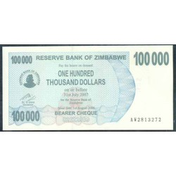 Zimbabwe 100.000 Dólares Cheque Pk 48b (1-8-2.006) S/C