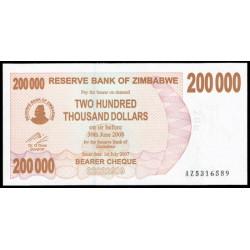 Zimbabwe 200.000 Dólares Cheque Pk 49b (1-7-2.007) S/C
