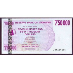 Zimbabwe 750.000 Dólares Cheque Pk 52 (31-12-2.007) S/C