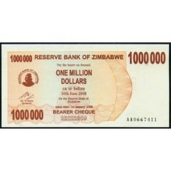 Zimbabwe 1 Millón de Dólares Cheque Pk 53 (1-1-2.008) S/C