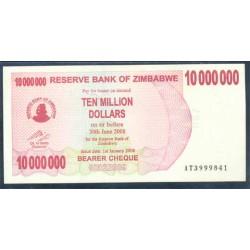 Zimbabwe 10 Millones de Dólares Cheque Pk 55 (1-1-2.008) S/C