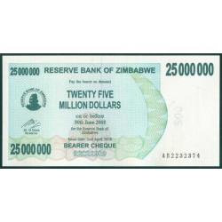 Zimbabwe 25 Millones de Dólares. Cheque Pk 56 (2-4-2.008) S/C
