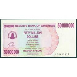 Zimbabwe 50 Millones de Dólares. Cheque Pk 57 (2-4-2.008) S/C