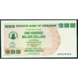 Zimbabwe 100 Millones de Dólares. Cheque Pk 58 (2-5-2.008) S/C