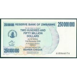 Zimbabwe 250 Millones de Dólares. Cheque Pk 59 (2-5-2.008) S/C