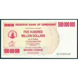 Zimbabwe 500 Millones de Dólares. Cheque Pk 60 (2-5-2.008) S/C