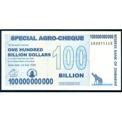 Zimbabwe 100 Billones de Dólares PK 64 (31-12-2.008) S/C