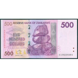 Zimbabwe 500 Dólares PK 70 (2.007) S/C