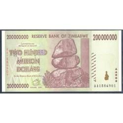 Zimbabwe 200 Millones de Dólares PK 81 (2.008) S/C