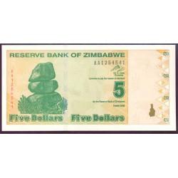 Zimbabwe 5 Dólares PK 93 (2.009) S/C