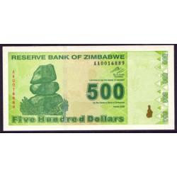 Zimbabwe 500 Dólares PK 98 (2.009) S/C