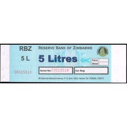 Zimbabwe Vale de 5 Litros de combustible (1) S/C
