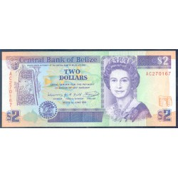 Belice 2 Dólares PK 52b (1-6-1.991) S/C