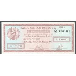Bolivia 100.000 Pesos Bolivianos PK 188 (21-12-1.984) S/C