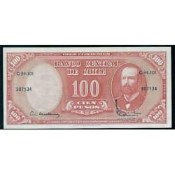 Chile 10 Centés. de Escudo en 100 Pesos PK 127a (1960-61) S/C
