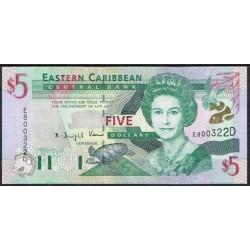 Est. Caribeños del Este (Dominica) 5 Dólares PK 37d (2.000) S/C