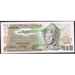 Guatemala 1/2 Quetzal PK 58 (6-1-1.982) S/C