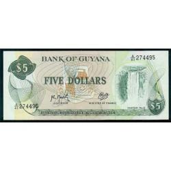 Guyana 5 Dólares PK 22f (Firma 9) (1.992) S/C