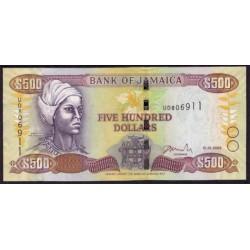 Jamaica 500 Dólares PK 85g (15-1-2.009) S/C