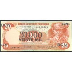 Nicaragua 20.000 Córdobas en 20 Córdobas PK 147 (1.987) S/C