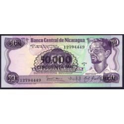 Nicaragua 50.000 Córdobas en 50 Córdobas PK 148 (1.987) Error de impresión. S/C