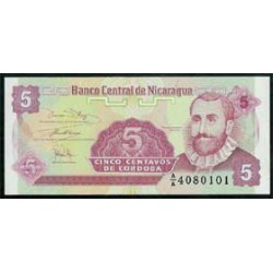Nicaragua 5 Cent. de Córdoba PK 168 (1991) S/C