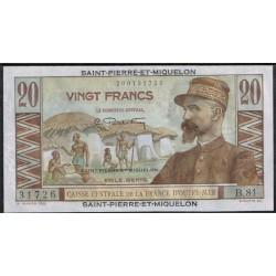 San Pierre y Miquelón 20 Francos PK 24 (1.950-60) S/C