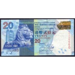 Hong Kong 20 Dólares PK 212 (1-1-2.010) Hong Kong and Shangai S/C