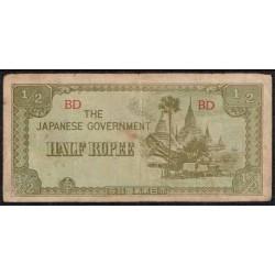 Myanmar (Burma) 1/2 Rupee Pk 13b (1.942) MBC-